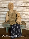Handmade Primitive Doll and Baby Sits or Hangs