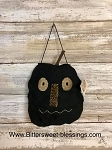 Handmade Black Fabric Pumpkin Face Ornament 5