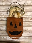 Handmade Primitive Pumpkin Bag with Corn Stalks 16