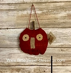 Handmade Orange Fabric Pumpkin Face Ornament 4