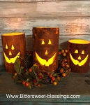 Jack O Lantern Timer Pillar Candles 3 Sizes Available