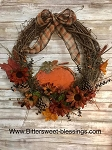 Handmade Fall Wreath with Pumpkin and Florals 20