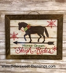Horse Drawn Sleigh Rides Tobacco Lath Framed Artwork 17.5