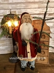 Arnett's Santa Wearing Red Coat Holding Feather Tree 19