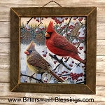 Cardinal Tobacco Lath Framed Artwork 13.5