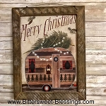 Camper Merry Christmas Tobacco Lath Framed Artwork 13.5