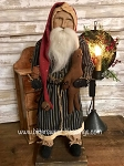 Arnett's Santa Wearing Navy Ticking Coat Holding Gingerbread Man and Candle 22