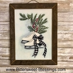 Ice Skates Tobacco Lath Framed Artwork 17.5