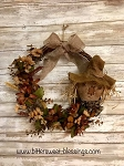 Handmade Scarecrow Wreath with Florals 15