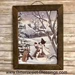 Snowman & Sled Tobacco Lath Framed Artwork 17.5