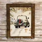 Old Truck With Cardinal Tobacco Lath Framed Artwork 13.5