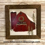 Merry Christmas Barn Tobacco Lath Framed Artwork 13.5