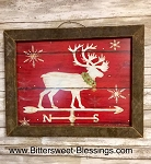 Reindeer Tobacco Lath Framed Artwork 19