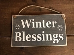 Winter Blessings Handmade Rope Wood Sign 6