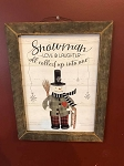 Tobacco Lath Framed Artwork Snowman Love & Laughter 13.5