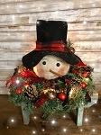 Primitive Snowman Head Handmade on Wreath that Lights Up 12