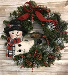 Handmade Primitive Snowman Wreath 22