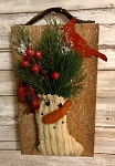 Primitive Barn Board Antique Leather Chenille Stocking with Cardinal 11