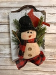 Primitive Barn Board Antique Leather Snowman Board 10