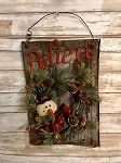 Primitive Antique Tin Believe Snowman Wreath 15