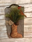 Primitive Barn Board Antique Leather Coverlet Stocking with Cardinal