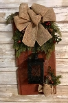 Primitive Barn Board Antique Leather with Lantern and Greens 16
