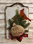 Primitive Barn Board Antique Leather Merry Christmas With Cardinal 10