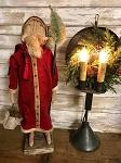 Handmade Primitive Santa on Stand with Bottlebrush Tree 22