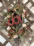 Handmade Primitive Holiday Grapevine Wreath with Greens, Bells & JOY