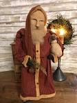 Handmade Arnett Santa in Red Plaid with Sheep Large 22