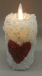 Moving Flame Votive White with Red Heart