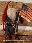 Arnett's Santa in Navy Homespun with Flag 19