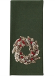 Pinecone Wreath Embroidered Dishtowel