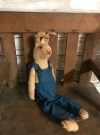 Handmade Sitting Bunny in Blue Overalls 12