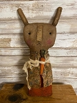 Handmade Primitive Brown Bunny Dressed with Carrot 13