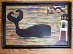 Hand Painted Whale with Lighthouse and Flag Painting by Kathy Grabill