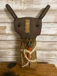 Handmade Primitive Black Bunny Dressed with Carrot 13