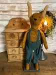 Handmade Primitive Tan Boy Bunny in Overalls 21