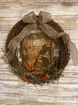 Handmade Primitive Wreath with Bunny Rabbit and Carrots 20