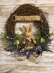 Handmade Primitive Wreath with Bunny Rabbit and Flowers 20