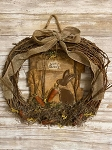 Handmade Primitive Bunny Rabbit Happy Easter Wreath 18