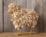 Primitive Sheep Made Of Fabric Pieces & Burlap