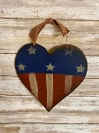 Handmade Americana Wood Heart with Hanger 8