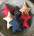 Handmade Americana Patriotic Red White Blue Star Bowl Filler Set of 6