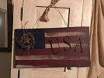 Handmade Wood Americana Patriotic Flag USA 17