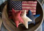 Handmade Flag Pillow and Set of 3 Americana Red White Blue Star Pillows