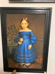 Primitive Girl Portrait Blue Dress Handmade Amish Frame 17.5