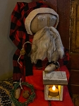 Handmade Chubby Olde Time Sitting Santa in Buffalo Check with Lantern 27