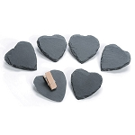 Slate - Heart with Clip - 6 pieces