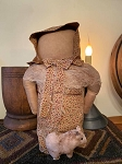 "Handmade prairie doll with her pig. She is 14"" tall and weighted so sits perfectly."